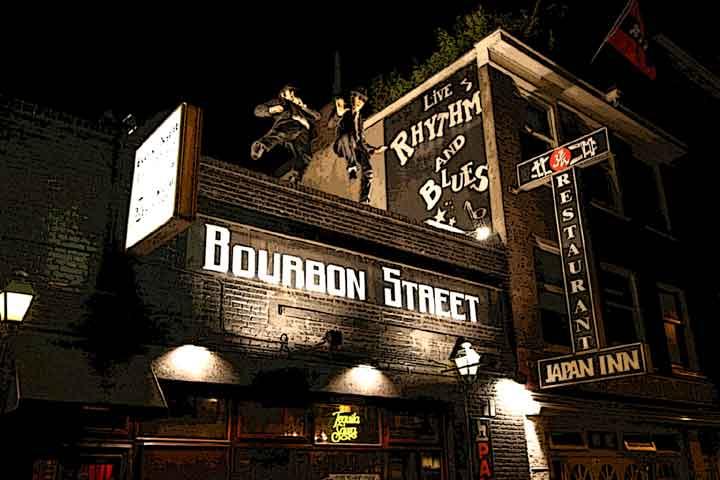 Fachada da balada Bourbon Street em Amsterdã