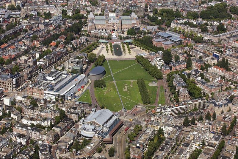 Vista aérea do Museumplein em Amsterdã