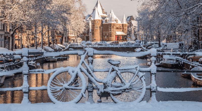 Inverno em Amsterdã na Holanda