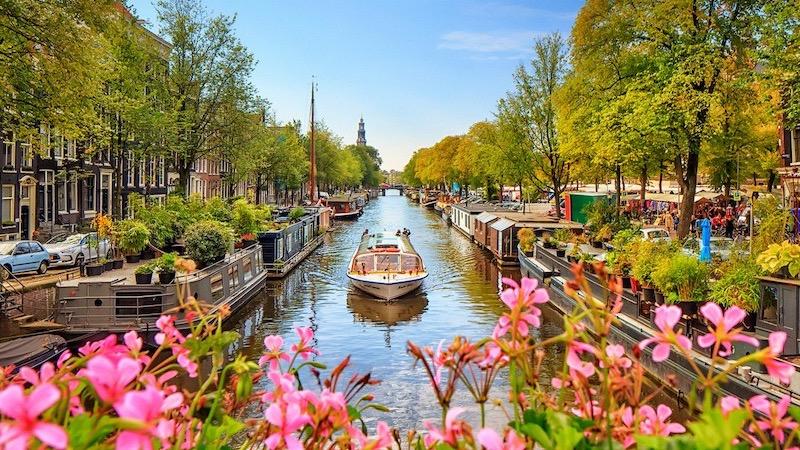 Paisagem de flores no canal de Amsterdã