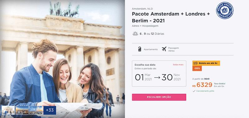 Pacote Hurb para Amsterdam, Londres e Berlim