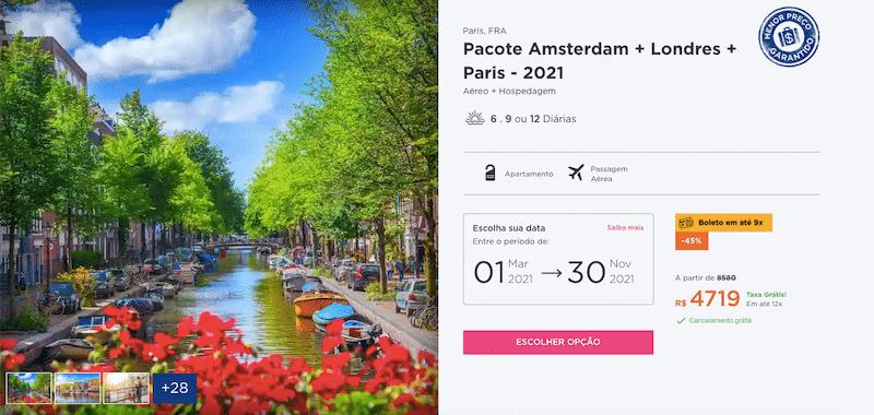 Pacote Hurb para Amsterdam, Londres e Paris