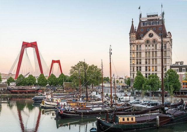Paisagem de Roterdã na Holanda